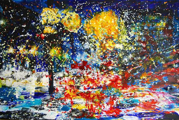 """like stars"", 80x120 cm, acryl auf leinwand, 2014"