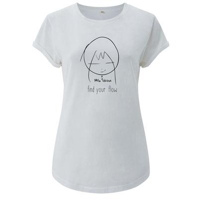 Damen Shirt EP16 100% Organc fair -  Logo MsSlow -find your flow- weiss