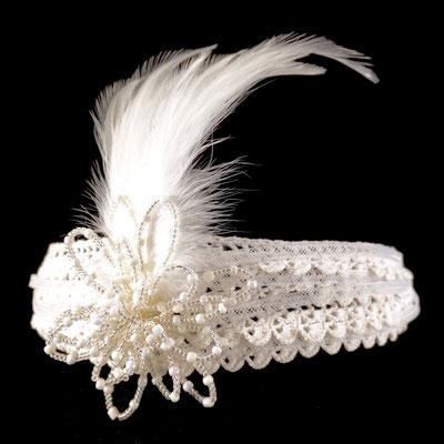 Stirnband mit Blume aus Draht& Glasperlen / Feder / Spitzenborten / Crinol