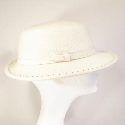schmalkrempiger Damenhut - mit Glasperlen bestickt - Haarfilz - 225.-