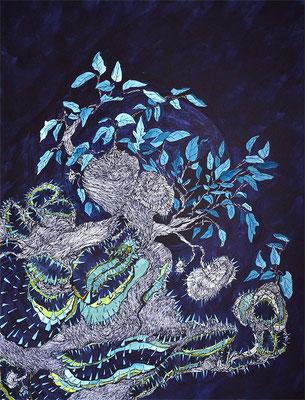 Yggdrasil, Tusche/Papier, 65 x 50 cm, 2019