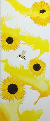 """""""Sonnenblumen""""  Liquid Watercolor, Acryl und Polychromos auf Leinwand  40x100cm"""