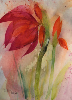 Red flower, 2020, 38x28