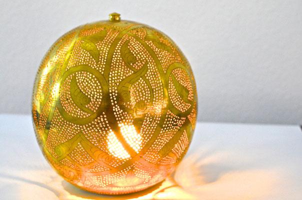 Ägyptische Silberlampe mit Muster rund - CASAORIENT Stuttgart