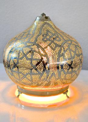 Ägyptische Silberlampe mit Standfuß rundliche Form - CASAORIENT Stuttgart