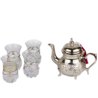 Marokkanische Teekanne mit Teegläsern - CASAORIENT Stuttgart