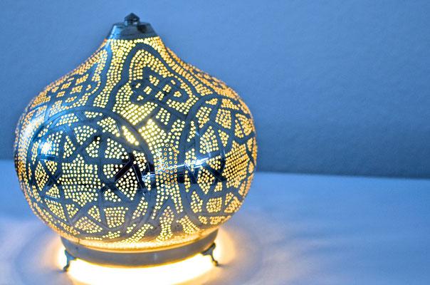 Ägyptische Silberlampe mit Sternmuster rundliche Form - CASAORIENT Stuttgart