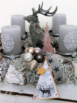 Adventskranz Silberflöckchen