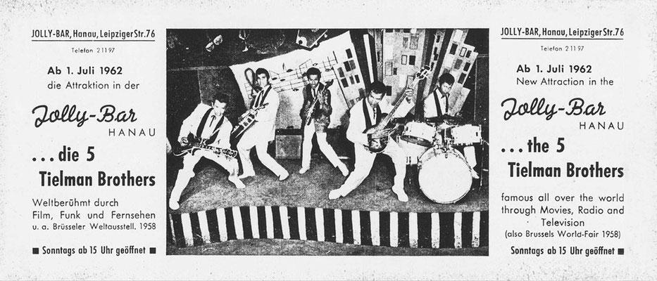 """Flyer der """"Jolly-Bar"""" (Leipziger Straße) für ein Monats-Engagement der legendären Indo-Rock Band """"The Tielman Brothers"""""""