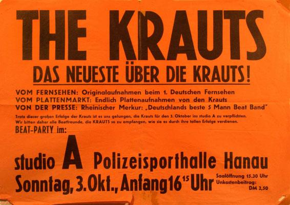 """Konzert-Plakat der Hanauer Polizeisporthalle, in der der """"Jugendclub Blau-Gelb"""" regelmäßig Beat-Gigs veranstaltet hat"""