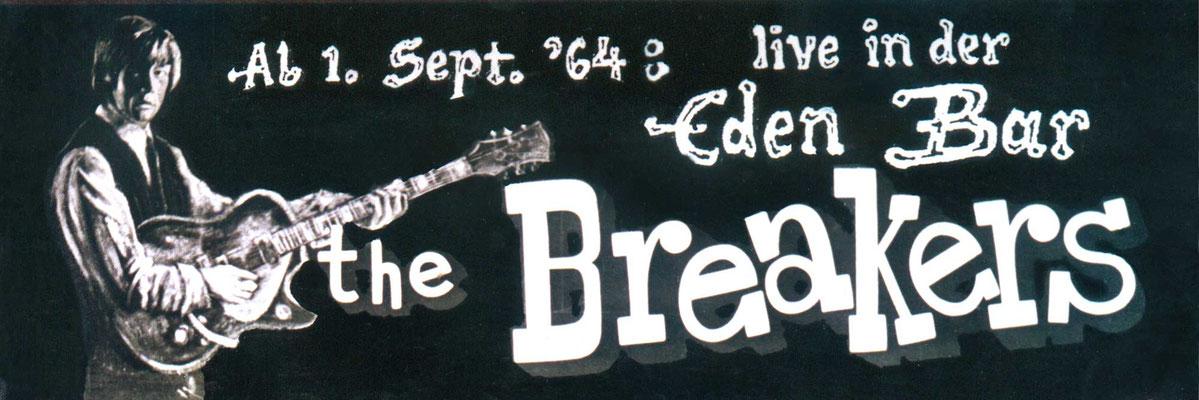 """Bar-Reklame der """"Eden-Bar"""" (Lamboystraße) für ein Monats-Engagement der englischen Beat-Band """"The Breakers"""" – gemalt vom Hanauer Kult-Autor, Maler & Rock-Veteranen Helmut Wenske"""