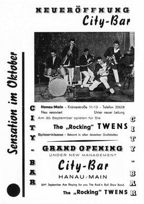 """Flyer der Hanauer City-Bar (Krämerstraße), mit dem ein Auftritt der """"Twens"""" beworben wurde"""