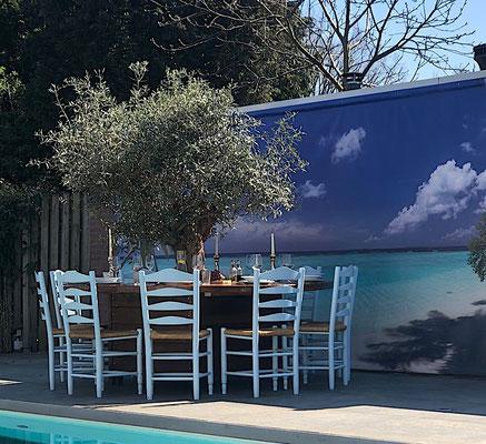 Essecke mit Palmen auf einer Gastronomie Terrasse