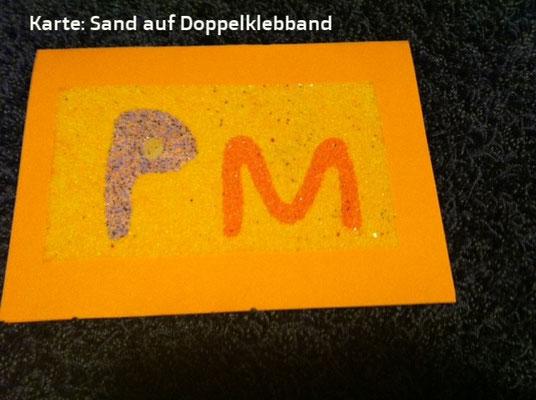 Sandkarten. Doppeltes Klebband und dann Sand darüber
