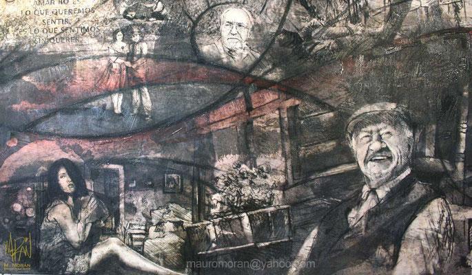 Salma Hayek, Ignacio López Tarso, Arturo Ripstein, Mural en la Cinetéca Nacional, 20 años de Cine en México