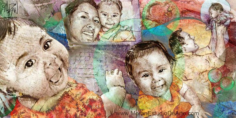 Collage con fotos de bebe
