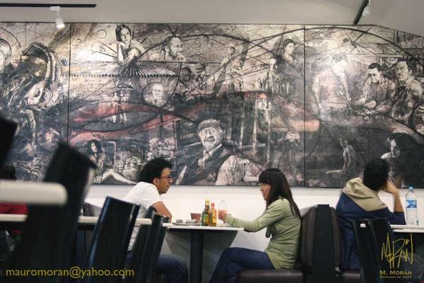Mural en la Cinetéca Nacional, 20 años de Cine en México, Cafeteria Finca Santa Veracruz