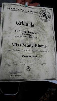 Miss Maily Flame belegte einen super 2. Platz auf der Fohlenschau des PHCG in Marksuhl mit einer Gesamtnote von 7,9. Typ: 8,0/ Gebäude 7,75/ Gangkorrektheit 7,75/ Gangqualitä 8,0/ Gesamteindruck 8,0