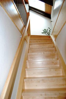 Gerade Treppe mit Futterbretter