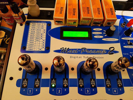 Test du bruit (12AX7  Nominal = -81 db) sur Maxi préamp (Maximatcher USA)