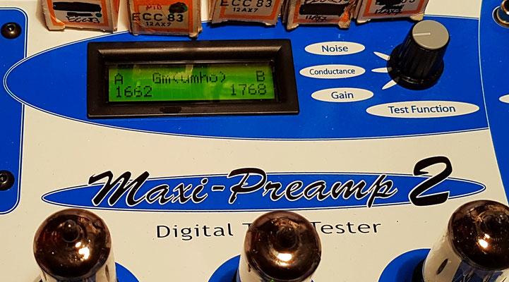 Test de l'amplification, conductance, pente (12AX7  Nominal = 1450 µmho) sur Maxi préamp (Maximatcher USA)
