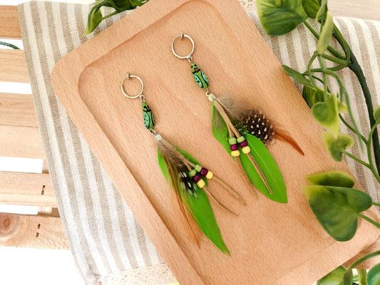 手工繪製耳環(耳夾款)品種:綠月輪鸚鵡