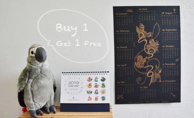 2019鸚鵡桌曆及與奇樂工坊聯名合作之鸚鵡樂團海報(RISO孔版印刷)