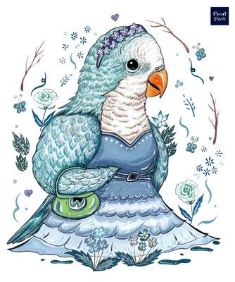 愛美是女生的天性 享受生活、對自己好一點才是幸福人生  作品:小鸚公主愛逛街 品種:藍色和尚鸚鵡