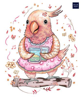 夏天生活 吃著大西瓜 吹著涼爽的風  沈浸在粉紅浪漫世界暢快地高歌幾首  作品:鸚樂妹妹愛唱歌 品種:粉紅巴丹鸚鵡