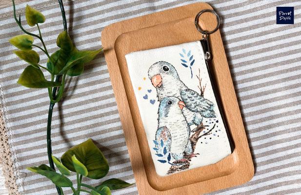 手工繪製零錢包 品種:藍和尚鸚鵡
