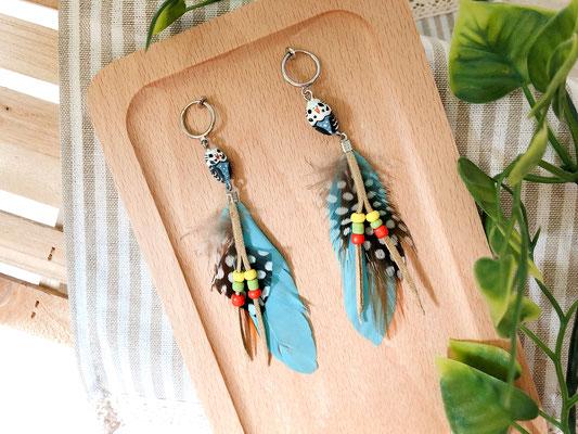 手工繪製耳環(耳夾款)品種:藍虎皮鸚鵡
