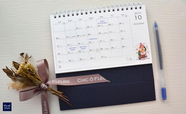 桌曆內頁背面示意照