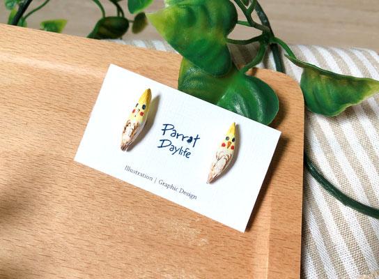 手工繪製耳環(耳針款)品種:玄鳳鸚鵡