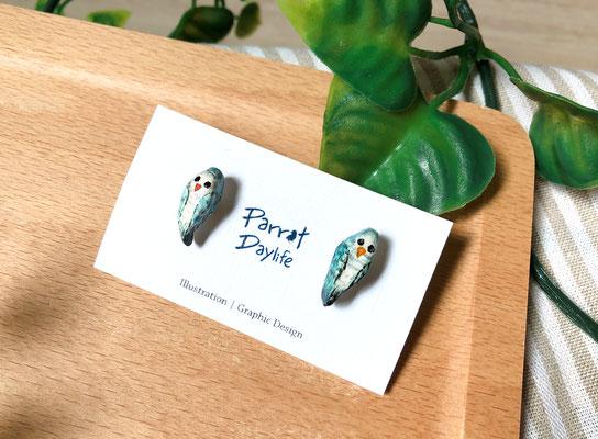 手工繪製耳環(耳針款)品種:藍和尚鸚鵡