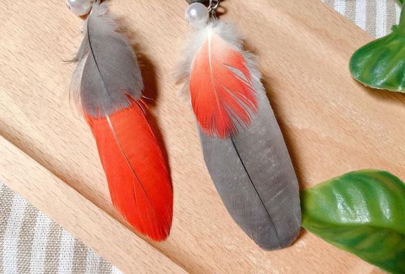 手工繪製耳環(耳夾款)真羽毛