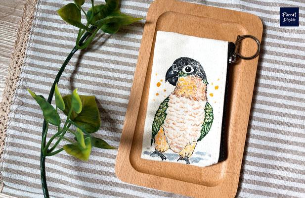 手工繪製零錢包 品種:黑頭凱克鸚鵡