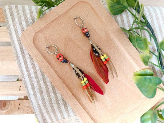 手工繪製耳環(耳夾款)品種:紅折衷鸚鵡