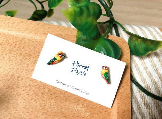 手工繪製耳環(耳針款)品種:金太陽鸚鵡