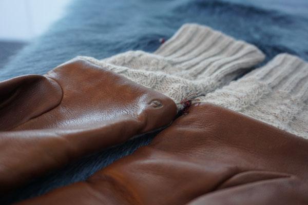 Damenhandschuh Leder/Stoff braun & beige AIGNER