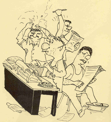 Redaktionssitzung für die Ordenszeitung (Quelle Latte)