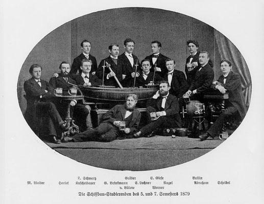 Schiffbaustudenten im Wintersemester 1892/93 in Berlin (Quelle Latte)