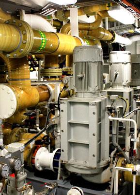 Abbildung 8: Seewasserpumpen und GFK-Rohre des druck- und saugseitigen Seewassersystems (Foto Dr. Hochhaus).