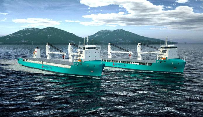 Abbildung 1: Schwergutfrachter mit freiem Deck und starken Kränen mit Seegangsausgleich für Offshoreeinsätze (Quelle HeayLift@Sea)