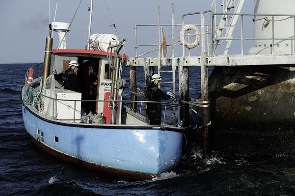 Abbildung 3: Service im  weltweit 1. Offshore Windpark Vindeby (Quelle Dong Energy)