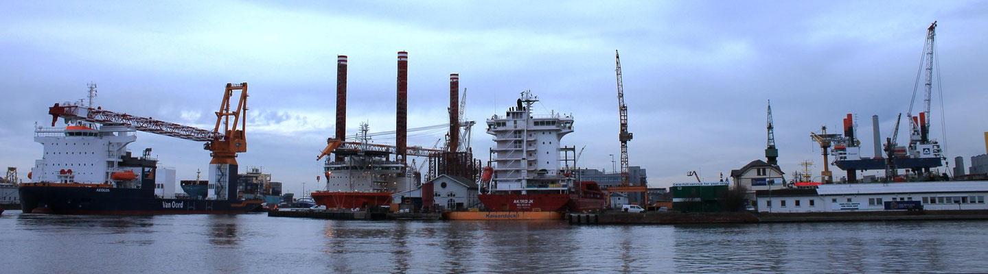 """Abbildung 1: Die """"Aeolus"""" (links) erreichte am 18.2.2014 die Lloyd Werft, bei der bereits die """"Bold Tern"""" (Mitte links) von Olsen liegt. Ganz rechts am Bremerhavener Offshore Terminal steht die """"Thor"""" und entlädt Gondeln (Foto Dr. Hochhaus)."""