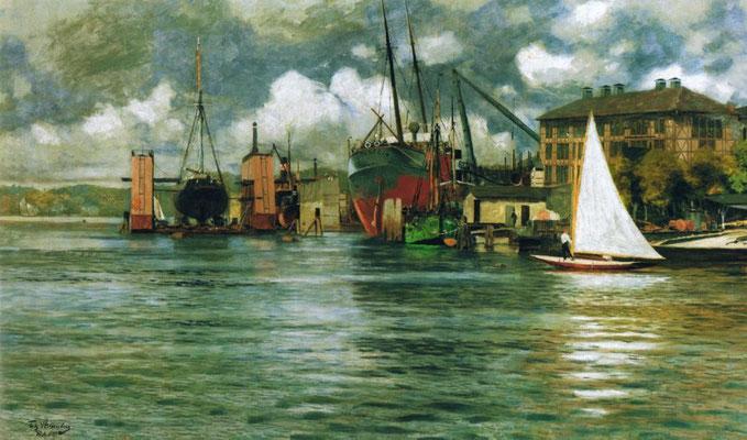 Abbildung 4: Gebrüder Howaldt und Swentine Dockgesellschaft in Kiel 1894 (Fritz Stoltenberg 1907, Wikipedia)