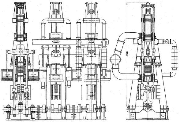 Der von Junkers konstruierte Dieselmotor für die PRIMUS, die  für die  Hapag 1909  bei der AG Weser auf Kiel gelegt wurde (Quelle STG)
