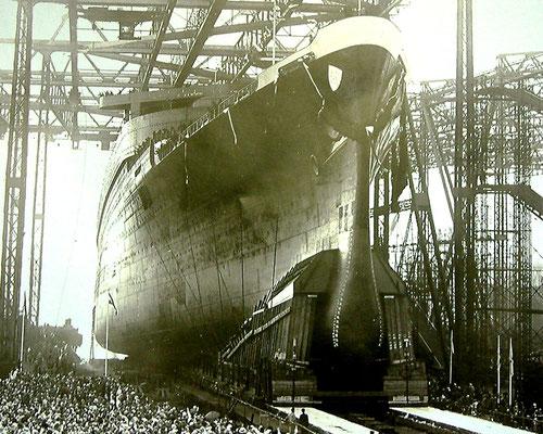 Stapellauf der EUROPA bei Blohm & Voss 1928 (Quelle B&V)