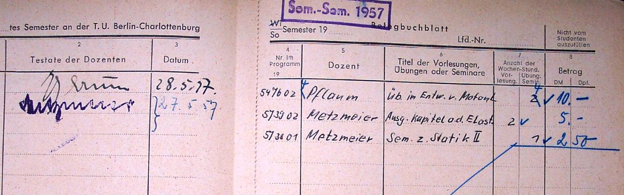 Auszug des Studienbuches von Dr. Müller-Graf, 1. Semester (Foto Dr. Hochhaus)