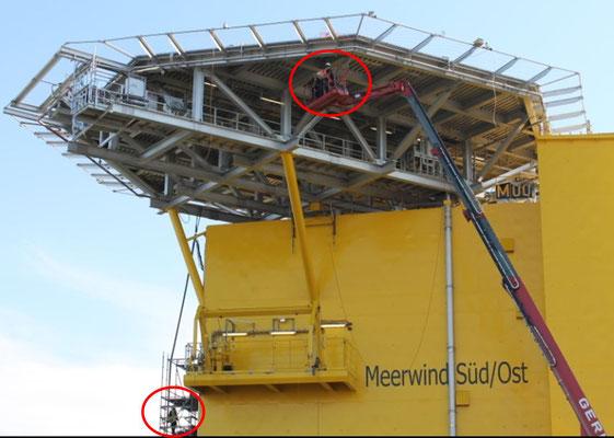 Abbildung 9: letzte Arbeiten an der Trafoplattform Meerwind Süd/Ost (Foto Dr. Hochhaus)